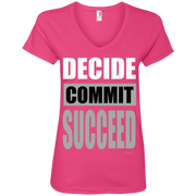 DECIDE, COMMIT, SUCCEED! 88VL Anvil Ladies' V-Neck T-Shirt
