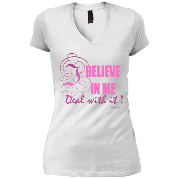 I BELIEVE IN ME!DT4501 District Junior's Vintage Wash V-Neck T-Shirt