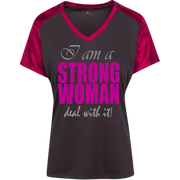 I AM A STRONG WOMAN ! LST371 Sport-Tek Ladies' CamoHex Colorblock T-Shirt