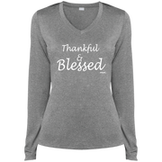 LThankful and blessed!  ST360LS Sport-Tek Ladies' LS Heather Dri-Fit V-Neck T-Shirt
