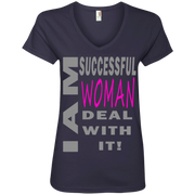 Successful woman! Ladies' V-Neck Tee