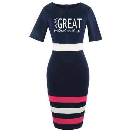 Wam I am Great Work Sheath Pencil Dress Classic Striped
