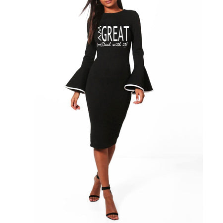 I am Great, deal with it! Bodycon Midi Dress  Ruffle Long Sleeve Wrap Black WAM