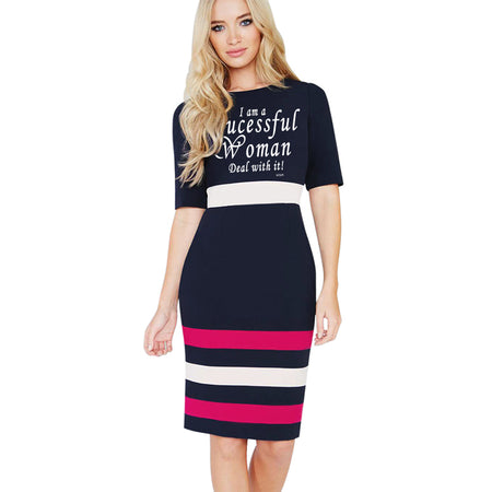 Wam I am successful Work Sheath Pencil Dress Classic Striped