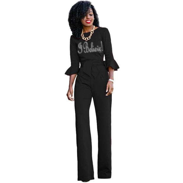 c868f3d7f729 I believe! BEAUTIFUL office Jumpsuit Long Pants Flare Sleeve – WAM Shopping