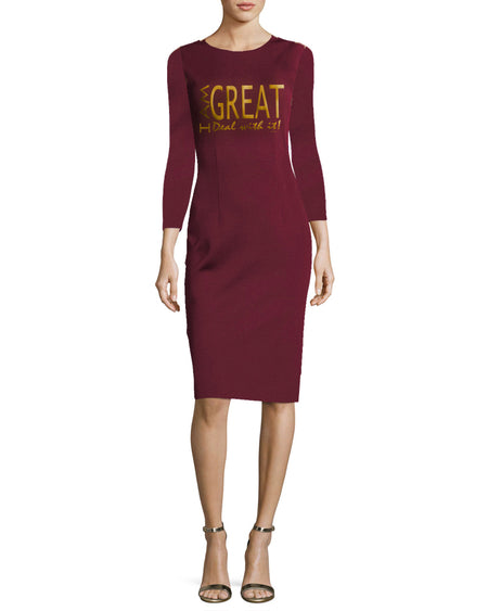 I am Great, deal with it! Maroon and gold Wam Long SleeveVintage Work Business Office Dress