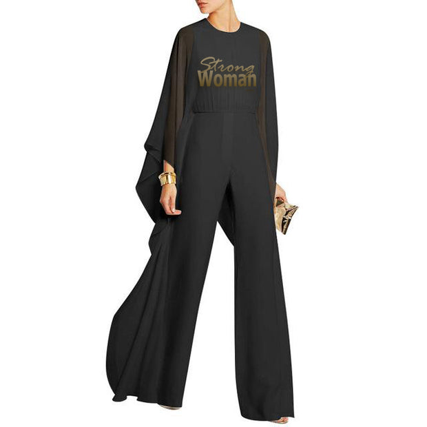 Strong woman! black Jumpsuits Long Pants  Chiffon Ruffle Flare Long Sleeve