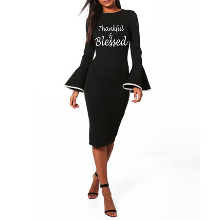 Thankful and blessed Bodycon Midi Dress  Ruffle Long Sleeve Wrap Black WAM