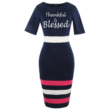 Wam Thankful and blessed Work Sheath Pencil Dress Classic Striped