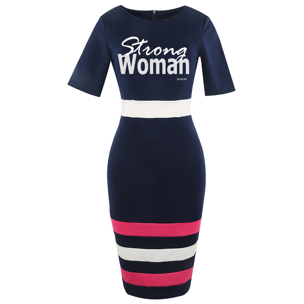 Wam Strong woman Work Sheath Pencil Dress Classic Striped