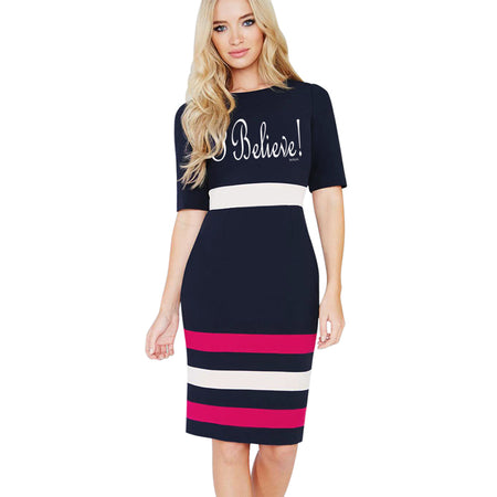 I believe! Work Sheath Pencil Dress Classic Striped