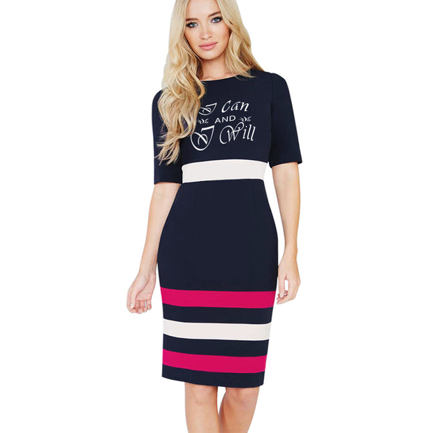 I can and I will!  Work Sheath Pencil Dress Classic Striped