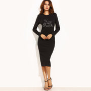 Keep the Faith! Sheath Dress Black Long Sleeve Work