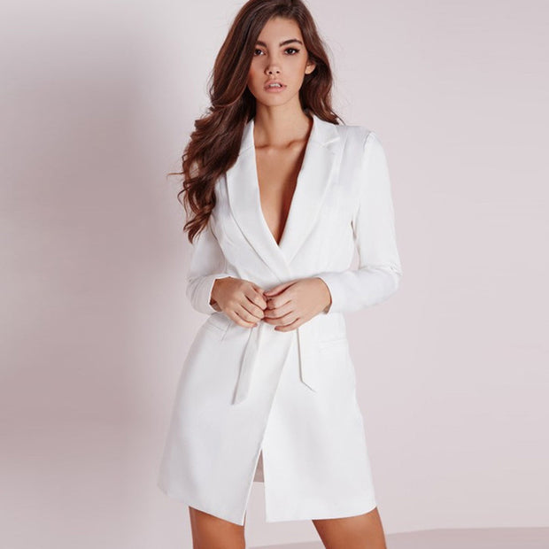 Wam white Long Suit Blazers Women Long Sleeve Single Button Belt