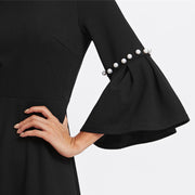 wam wonderful Pearl Beading Flare Sleeve Dress Women Round Neck