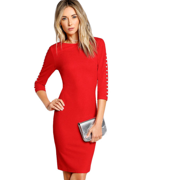 Kit Pearl Beading Sleeve Form Fitting Dress  Red Round Neck 3/4 Sleeve Sexy Pencil Dress + necklace + tote