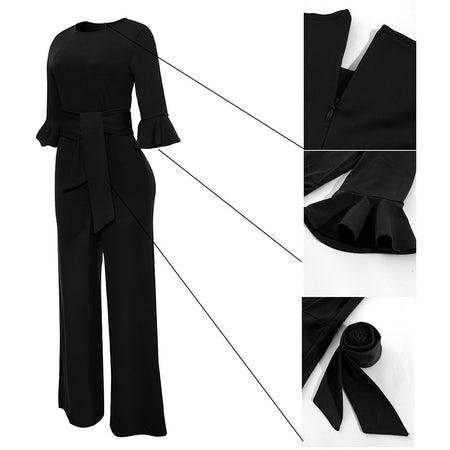 wam 3/4 Flare Sleeve Rompers Womens Jumpsuit (free shipping)