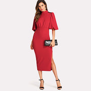 WAM WONDERFUL Red Lantern Sleeve Slit Side Dress