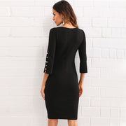 WAM Pearl Beading Sleeve Black Dress