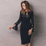 I am fearfully and wonderfully made!! Elegant Long Sleeve Bodycon Pencil Dress Formal Office