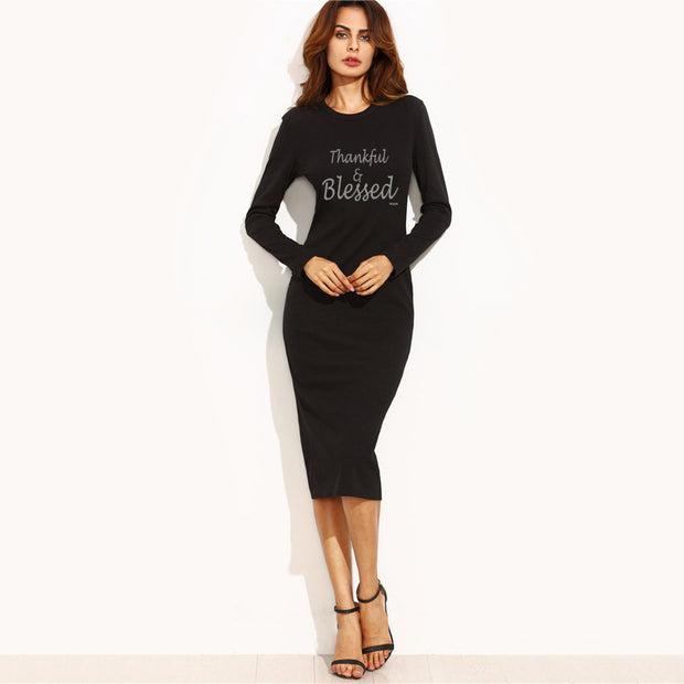Thankful and blessed! Sheath Dress Black Long Sleeve Work