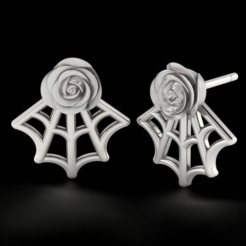 Rose Web Studs -Sterling Silver