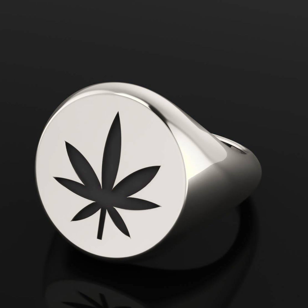4/20 Limited Edition Leaf Signet Ring - Sterling Silver - Twisted Love NYC