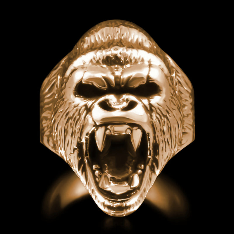 Gorilla Head Ring - Brass - Twisted Love NYC