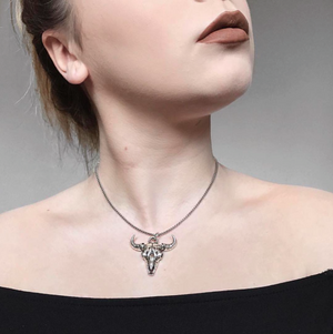 Cow Skull Necklace - Sterling Silver - Twisted Love NYC