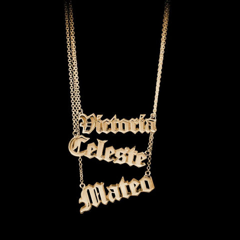 Custom Gothic Nameplate Necklace