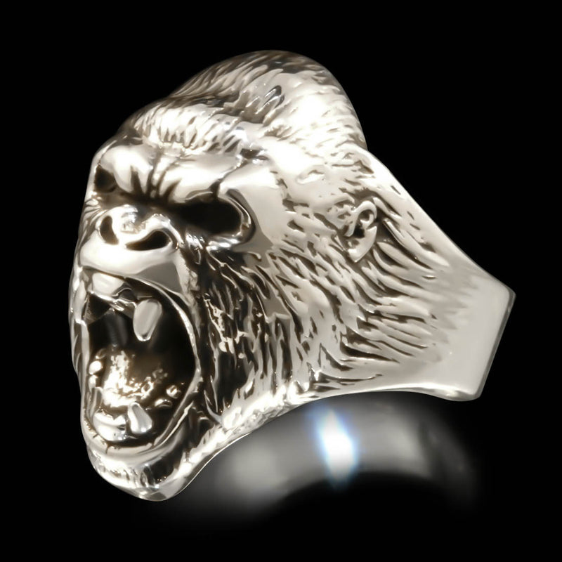 Gorilla Head Ring - Sterling Silver - Twisted Love NYC