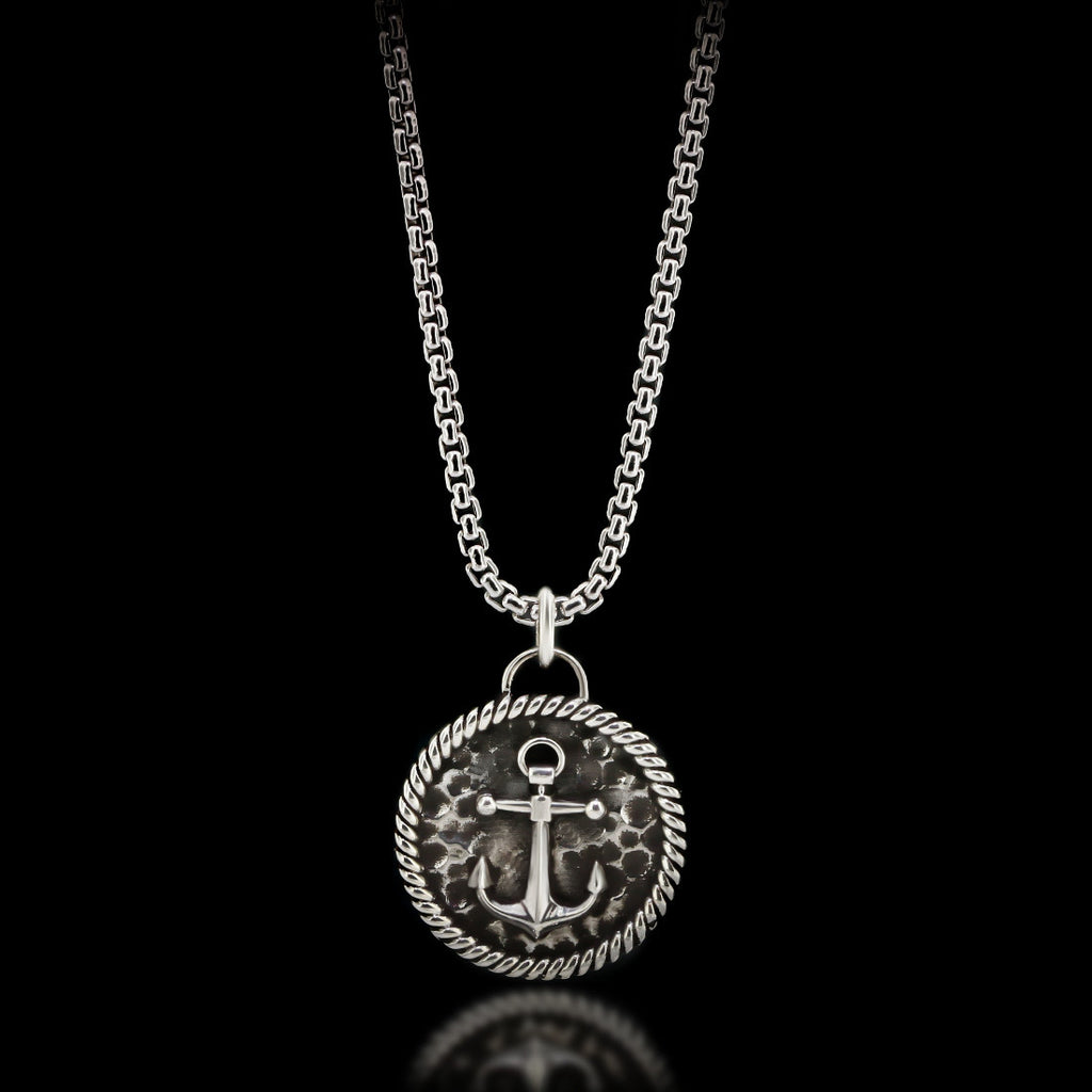 Anchor Medal Necklace - Sterling Silver - Twisted Love NYC