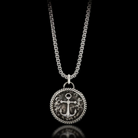 Anchor Medal Necklace - Sterling Silver