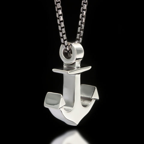 Anchor Slider Necklace - Sterling Silver