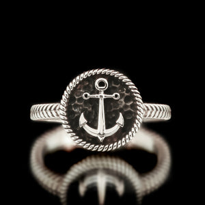 Ladies Anchor Ring - Sterling Silver - Twisted Love NYC