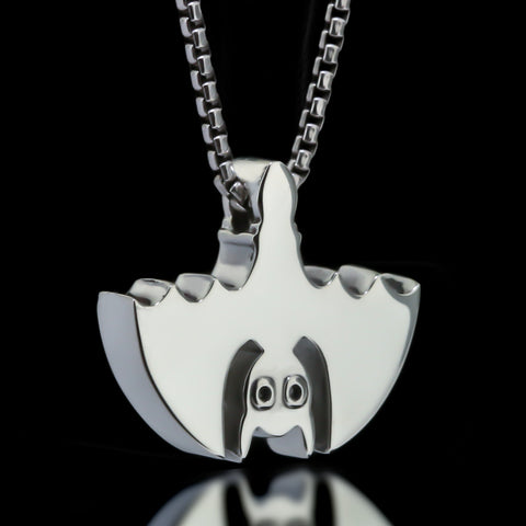 Bat Slider Necklace - Sterling Silver
