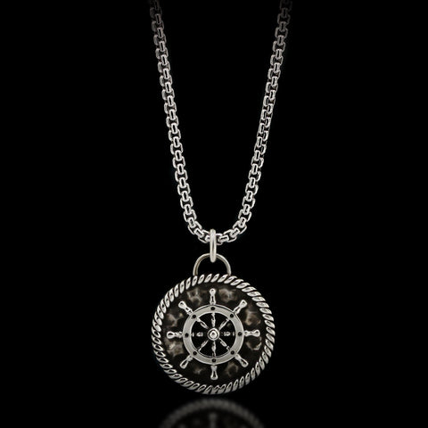 Boat Wheel Medal Necklace - Sterling Silver