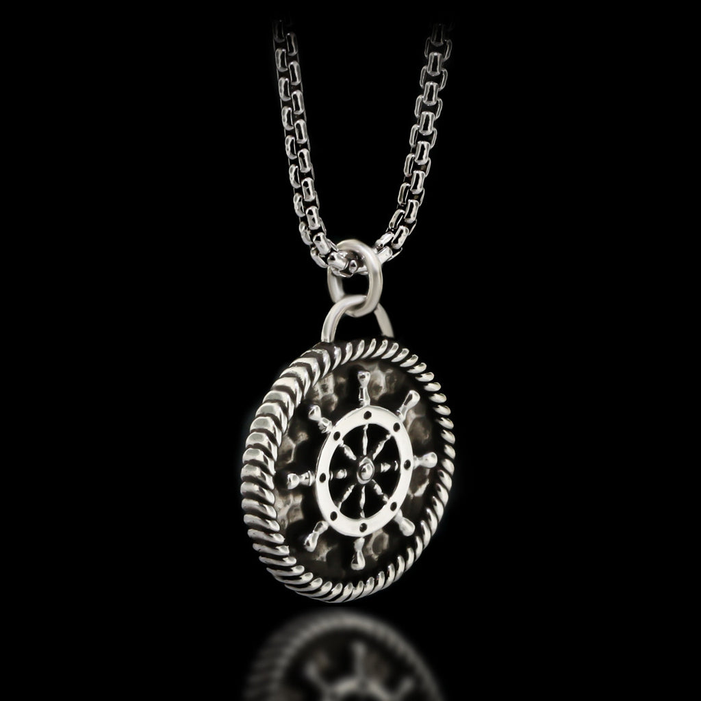 Boat Wheel Medal Necklace - Sterling Silver - Twisted Love NYC