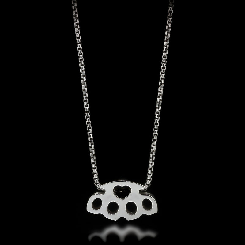 Brass Knuckle Slider Necklace - Sterling Silver - Twisted Love NYC