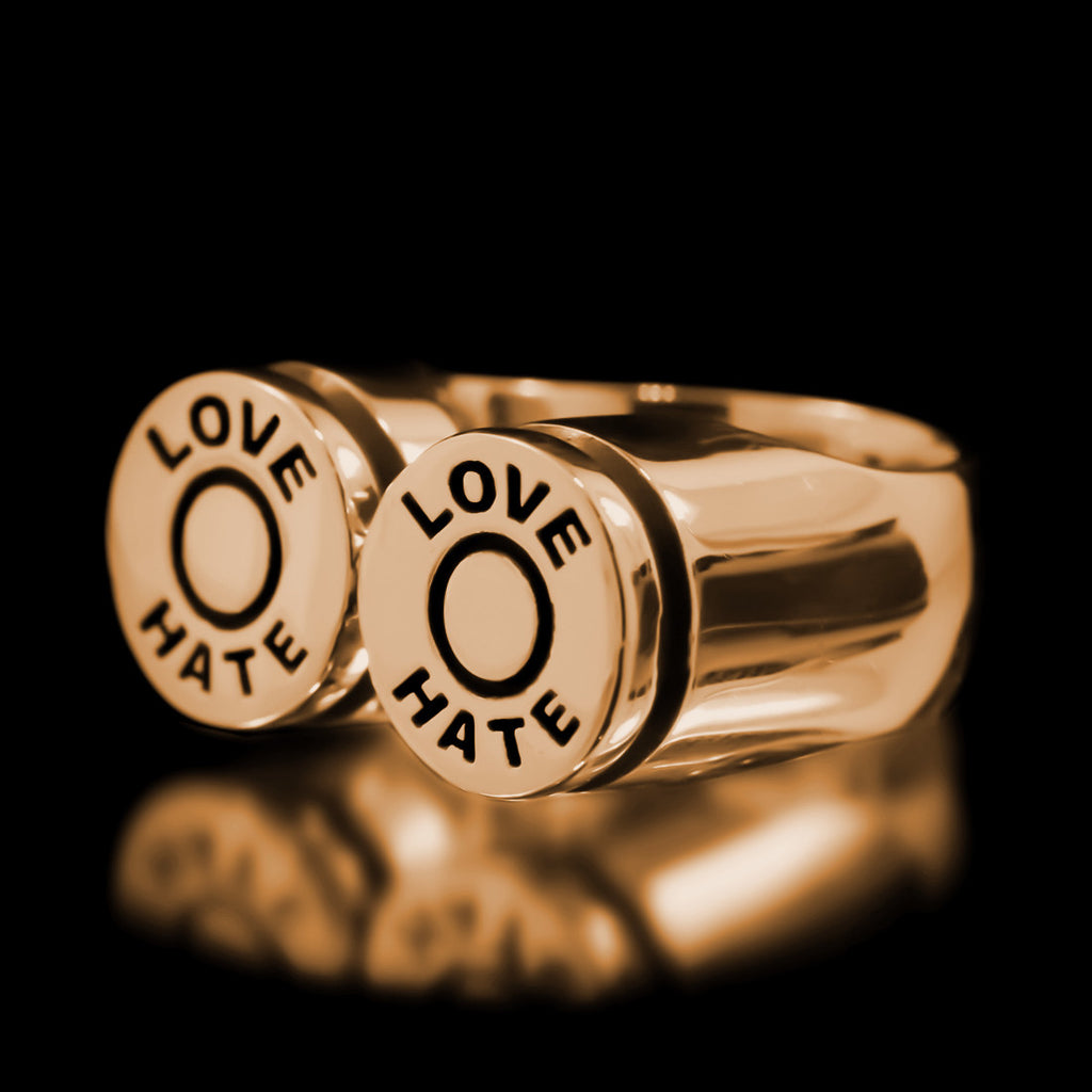 Love/Hate Bullet Ring - Brass - Twisted Love NYC
