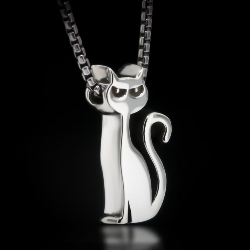 Cat Slider Necklace - Sterling Silver - Twisted Love NYC