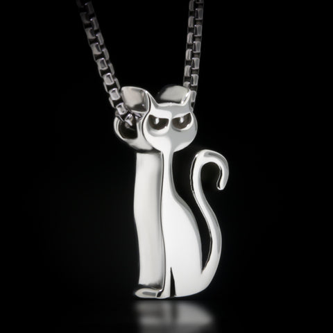 Cat Slider Necklace - Sterling Silver