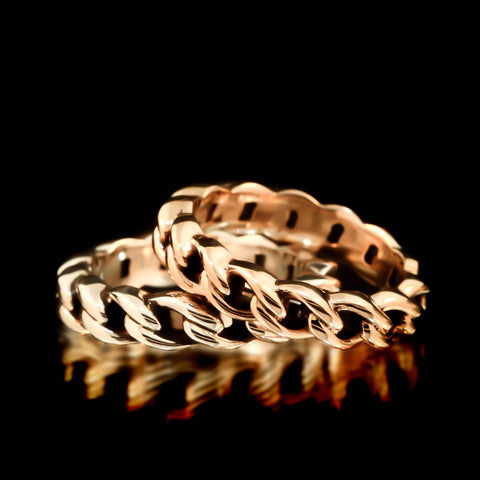 Silver & Brass Chain Link Ring Set