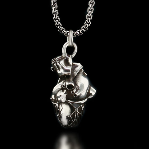 Anatomical Heart Necklace - Sterling Silver