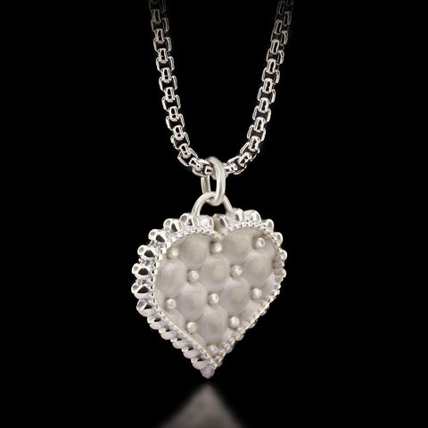 Cushion Heart Necklace - Sterling Silver
