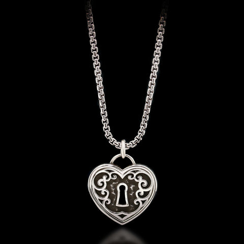 Padlock Heart Necklace - Sterling Silver
