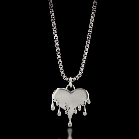 Melted Heart Necklace - Sterling Silver