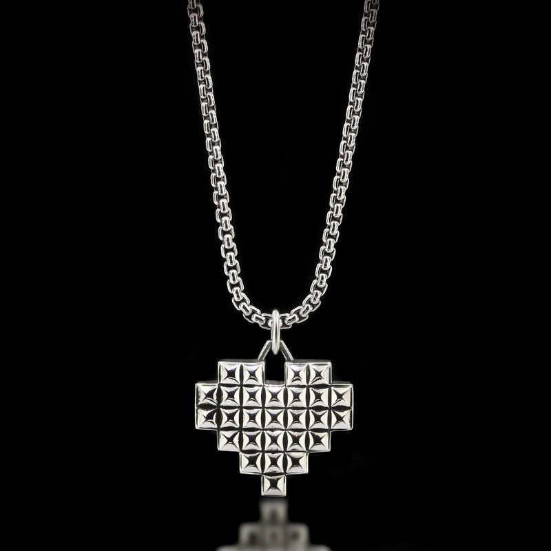 Pixelated Heart Necklace - Sterling Silver - Twisted Love NYC