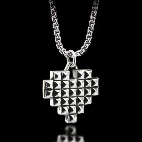 Pixelated Heart Necklace - Sterling Silver