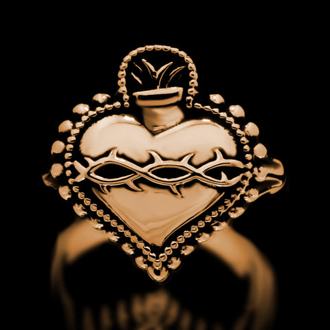 Sacred Heart Ring - Brass